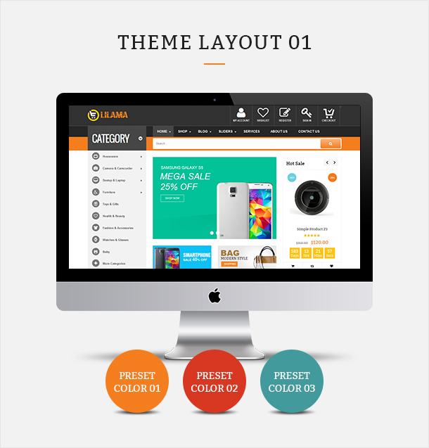 Фото Шаблон Wordpress платный  VG Lilama - Mega Shop Responsive WooCommerce Theme — 02 lilama 01