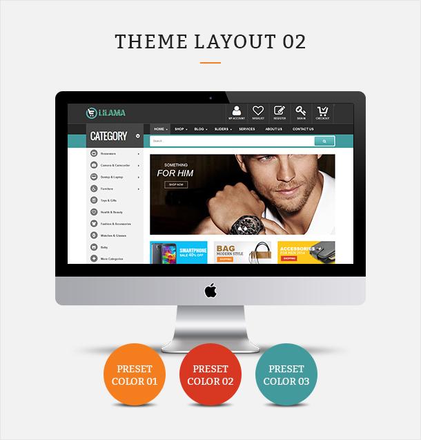 Фото Шаблон Wordpress платный  VG Lilama - Mega Shop Responsive WooCommerce Theme — 02 lilama 02