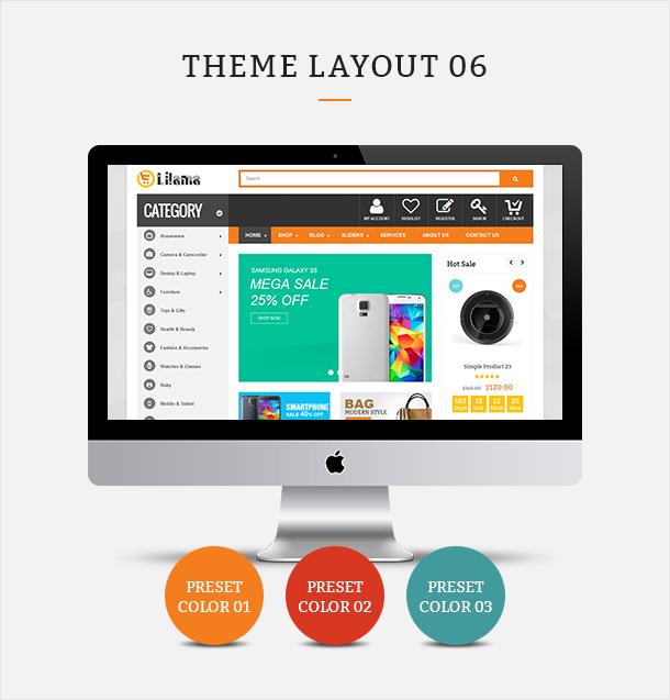 Фото Шаблон Wordpress платный  VG Lilama - Mega Shop Responsive WooCommerce Theme — 02 lilama 06